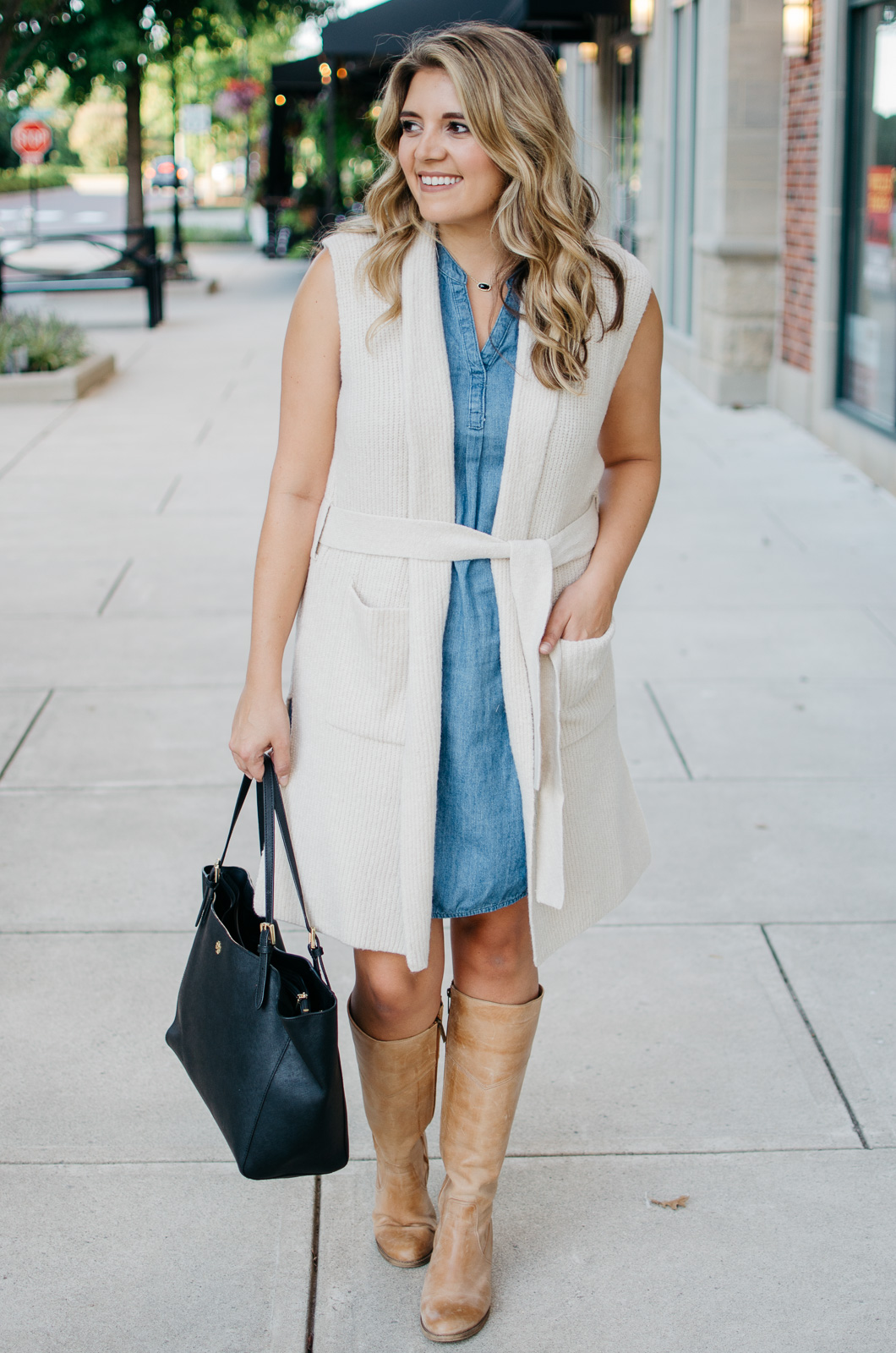 two ways to wear a long sweater vest - sweater vest and a dress outfit | Want to know how to wear a sleeveless sweater? I'm sharing two outfit ideas in today's post! bylaurenm.com