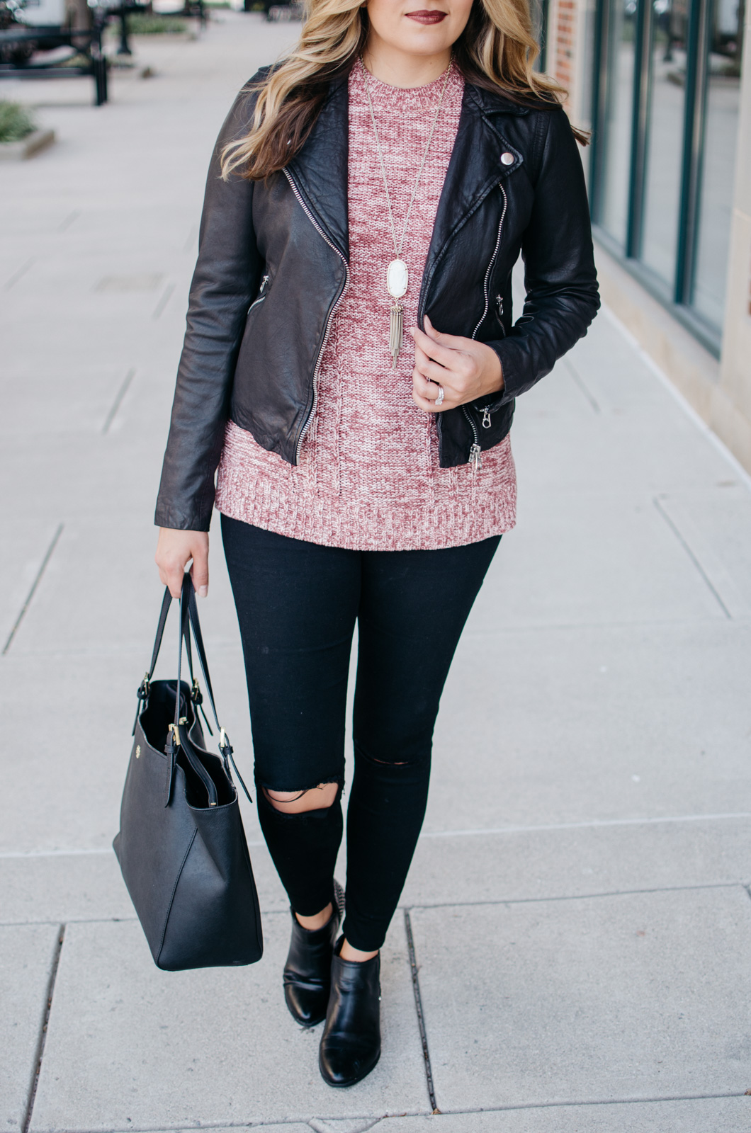 how wear sweater with a moto jacket - leather jacket sweater outfit | For more Fall outfit ideas, click through to bylaurenm.com!