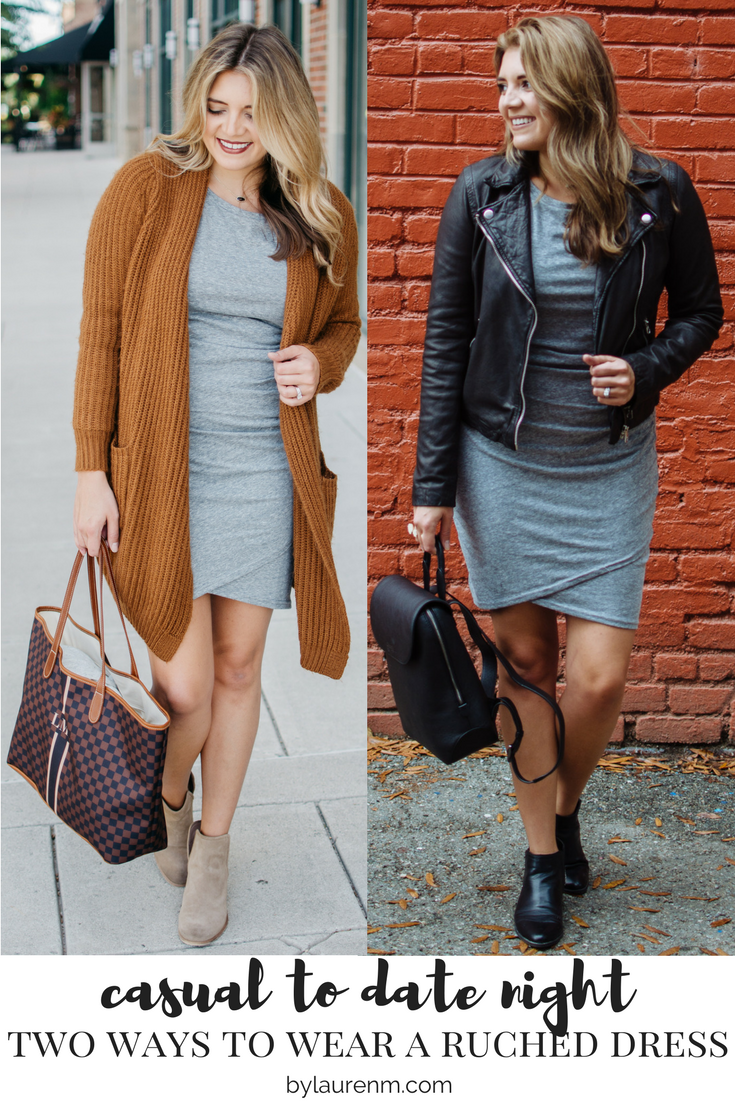ruched dress fall outfits - two ways to wear a ruched dress | For more cute Fall outfit ideas, click through to bylaurenm.com!