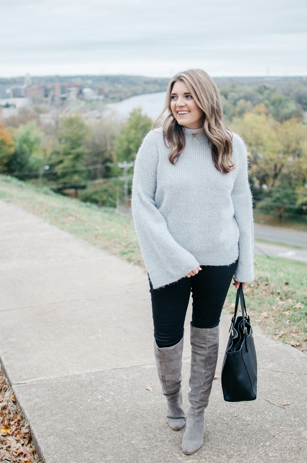 bell sleeve sweater outfit - gray eyelash sweater outfit idea | Get more Winter outfit ideas at bylaurenm.com!