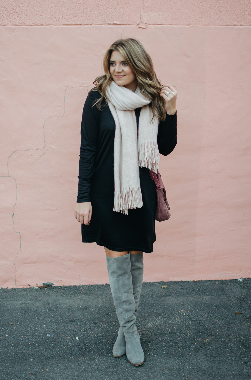 winter dress outfit - blush scarf outfit | Click through for outfit details or to see more cute Winter outfit ideas. bylaurenm.com