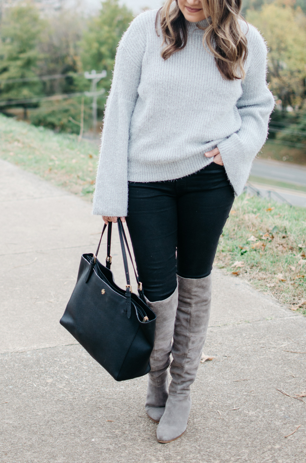 eyelash sweater - gray bell sleeve sweater outfit | Get more Winter outfit ideas at bylaurenm.com!