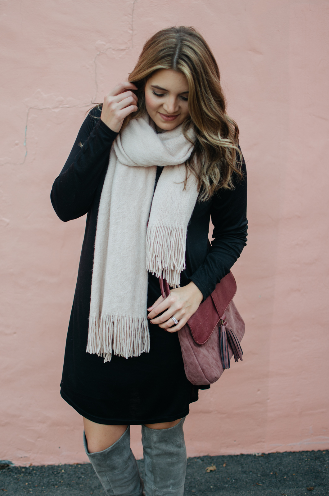 winter dress outfit - dress scarf outfit idea | Click through for outfit details or to see more cute Winter outfit ideas. bylaurenm.com