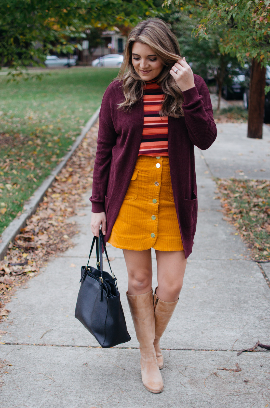 work outfits fall - how wear corduroy skirt | For more Fall outfit ideas, click through to bylaurenm.com!