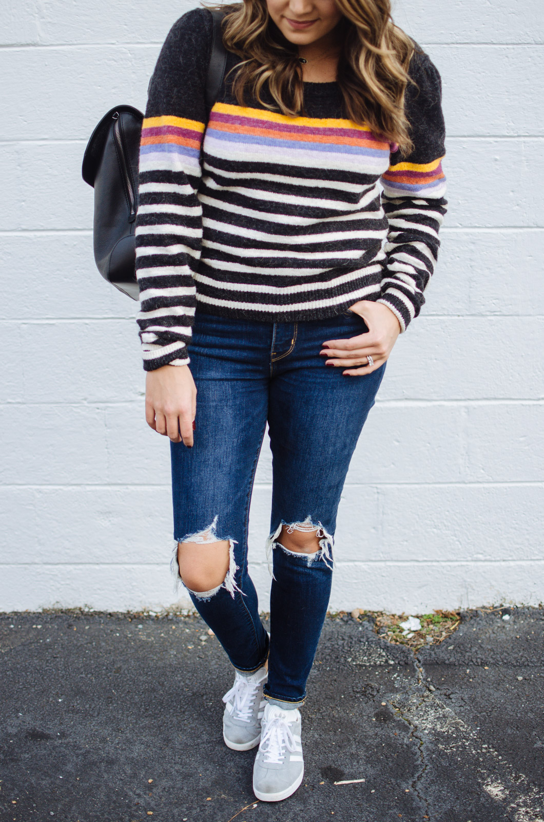 stripe sweater outfit - retro striped sweater | For more cute Fall and Winter outfits, click through to bylaurenm.com!