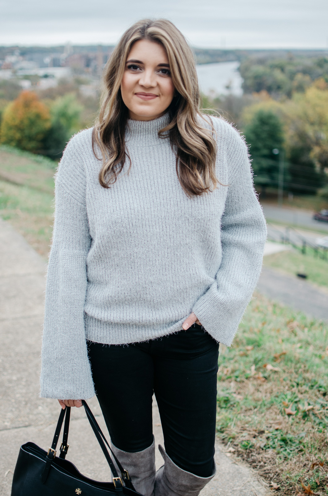 bell sleeve outfit idea - how wear a bell sleeve sweater | Get more Winter outfit ideas at bylaurenm.com!