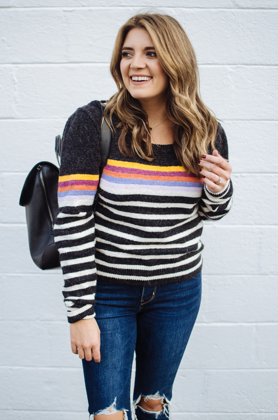 striped sweater outfit - how to wear a stripe sweater | For more cute Fall and Winter outfits, click through to bylaurenm.com!