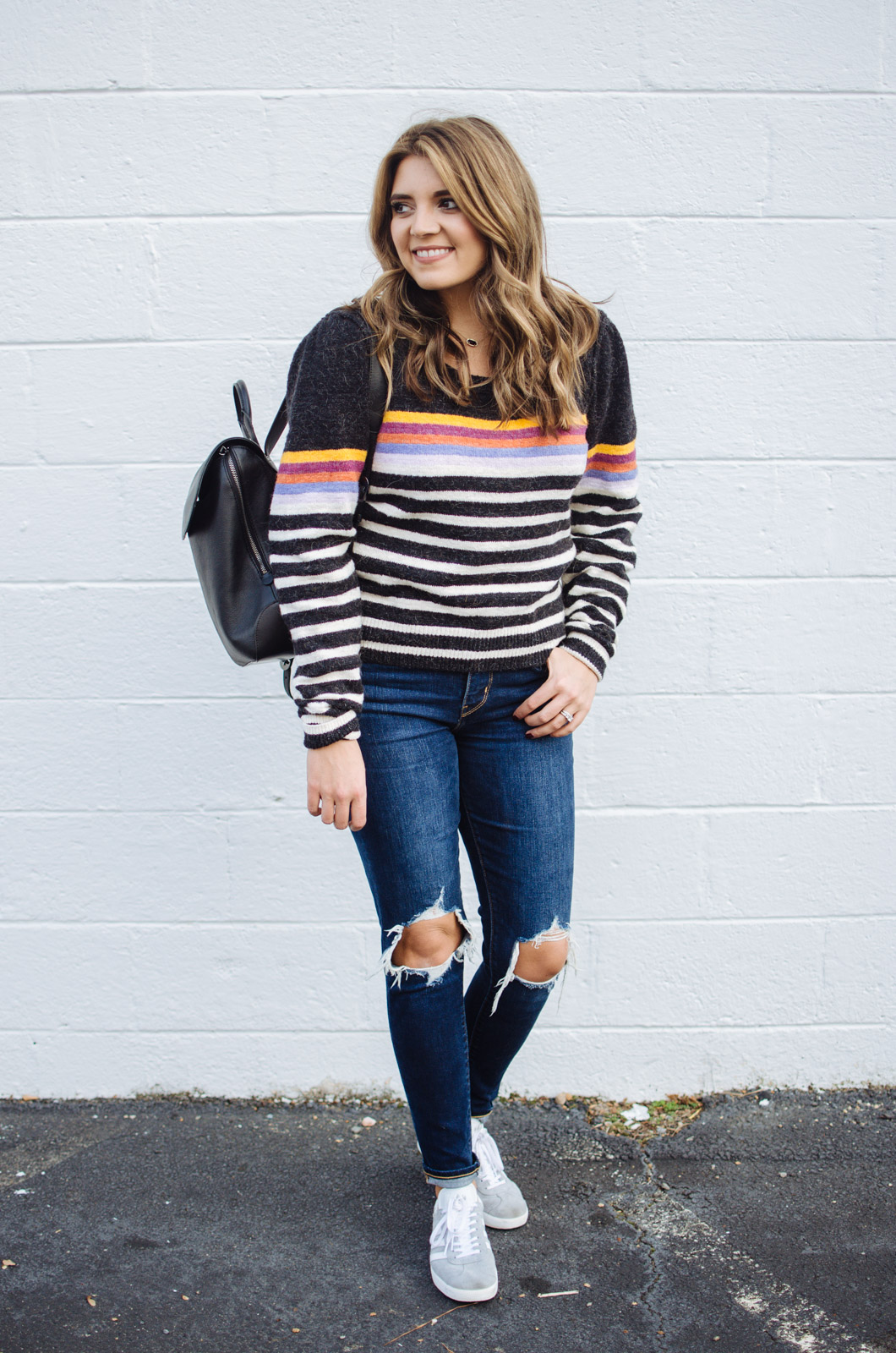 stripe sweater outfit - how to wear a striped sweater | For more cute Fall and Winter outfits, click through to bylaurenm.com!