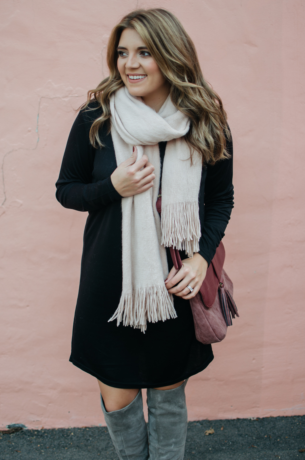 winter dress outfit - blush scarf dress outfit | Click through for outfit details or to see more cute Winter outfit ideas. bylaurenm.com