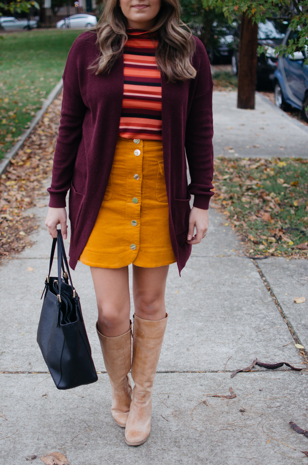 work outfits fall - corduroy skirt outfit | For more Fall outfit ideas, click through to bylaurenm.com!