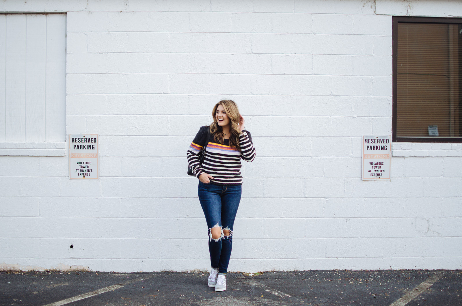 how wear striped sweater - free people striped sweater | For more cute Fall and Winter outfits, click through to bylaurenm.com!