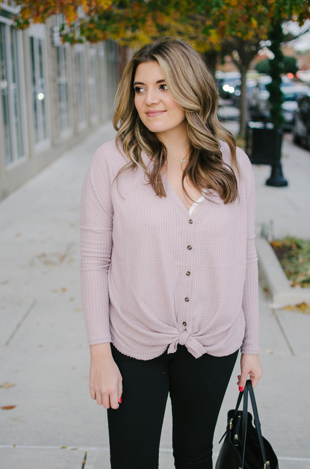 thermal top outfit - this tie thermal is adorable and so comfy! | See more Winter outfit ideas or get outfit details by clicking through to bylaurenm.com!