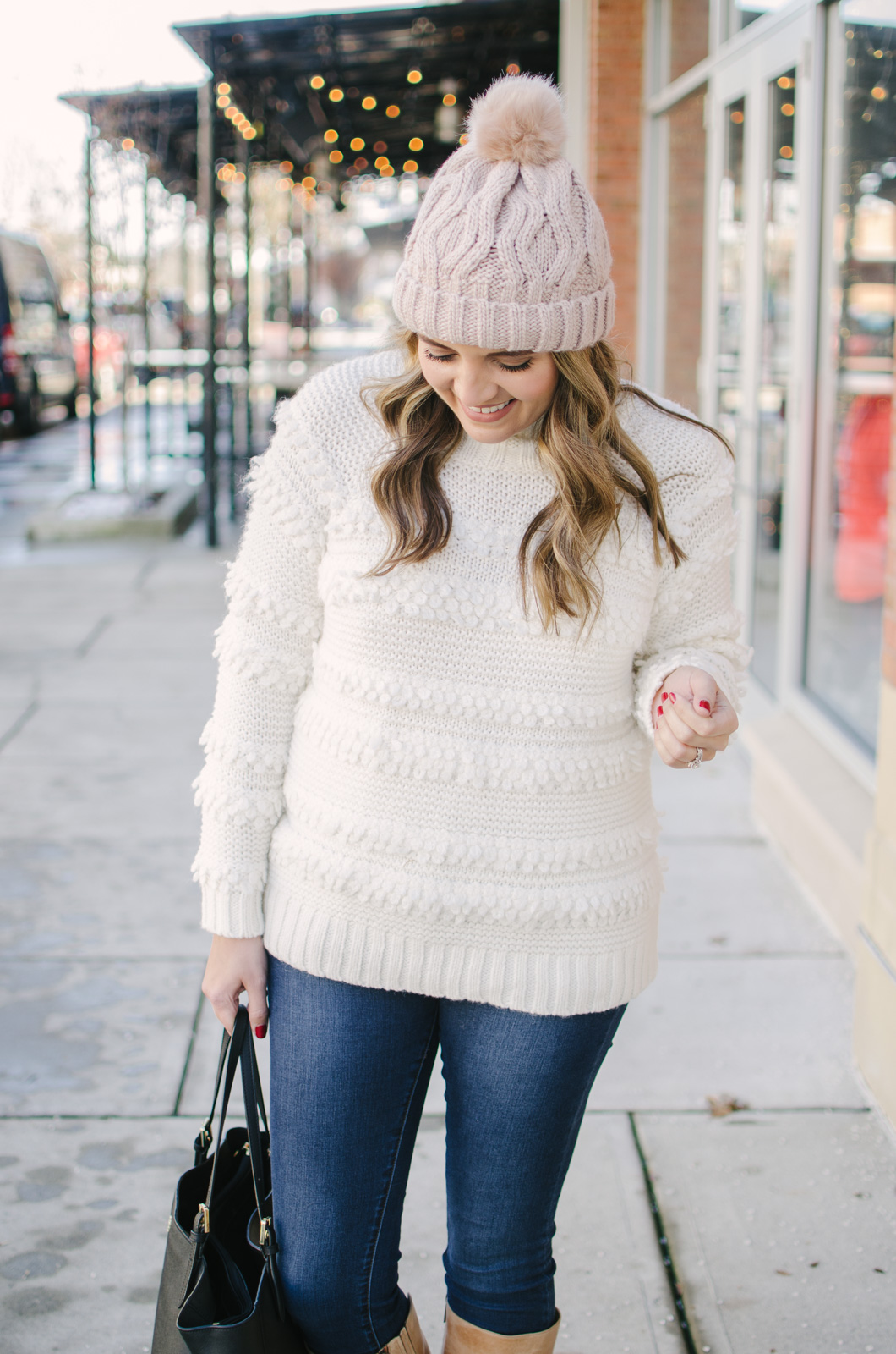 cream sweater outfit idea | Get all the outfit details and see more cute Winter outfits at bylaurenm.com!