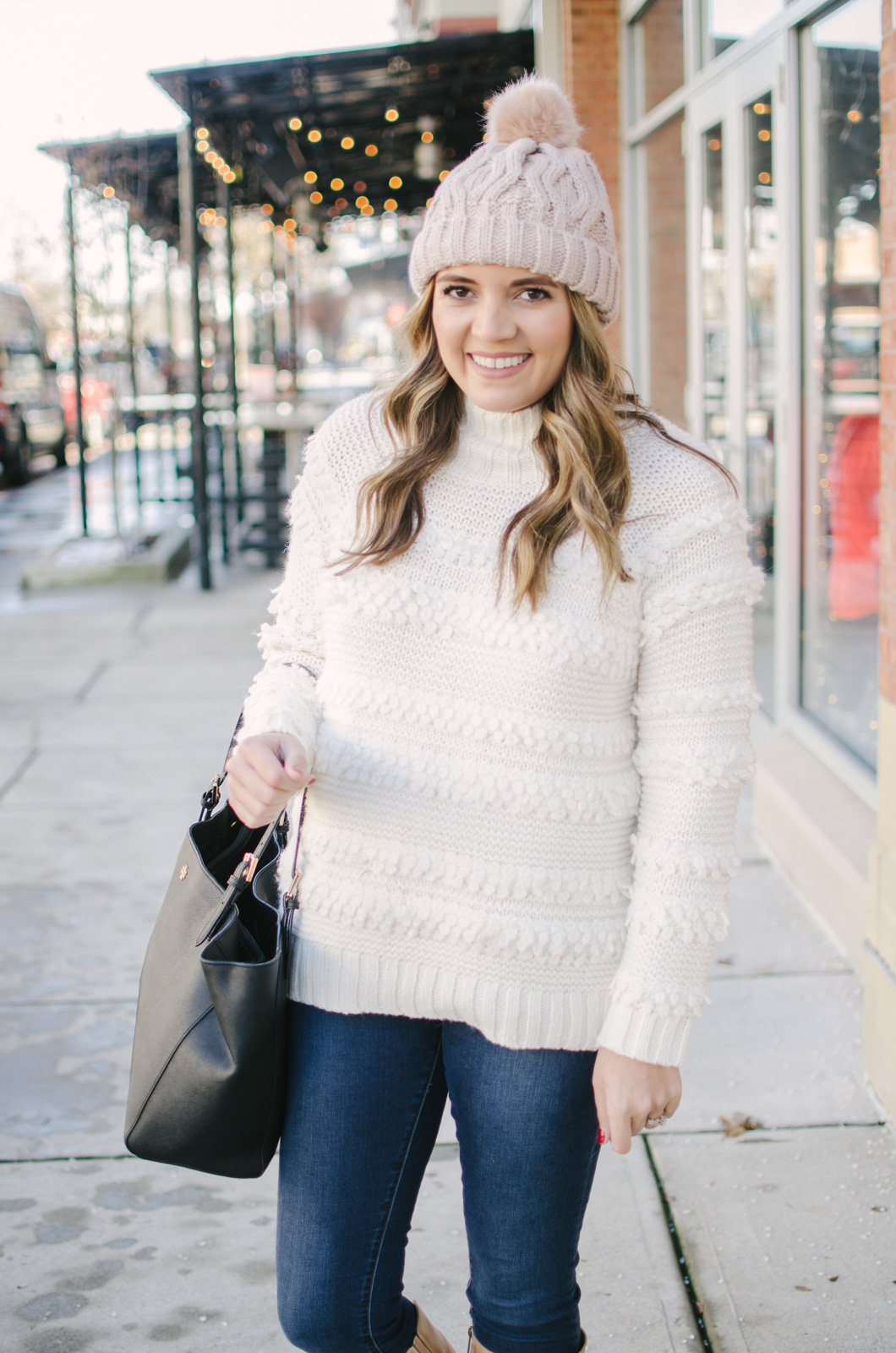cream sweater outfit - the cutest textured sweater ever!! | Get all the outfit details and see more cute Winter outfits at bylaurenm.com!