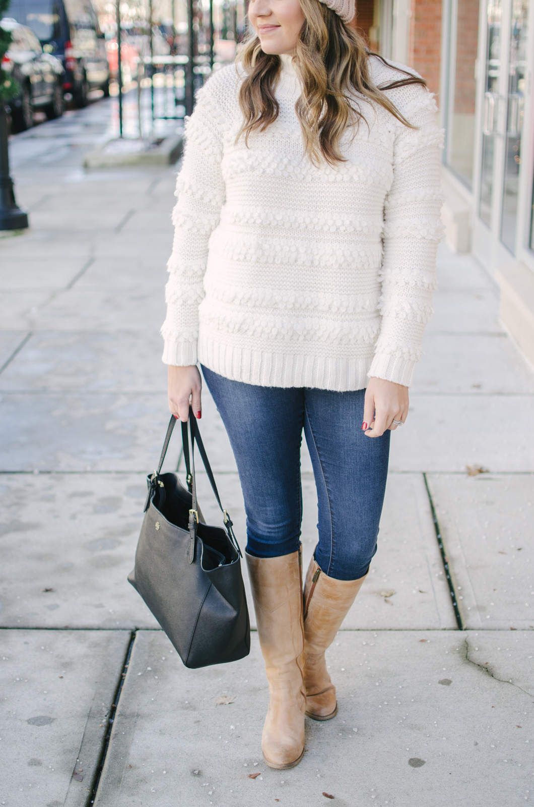cream sweater outfit - cute oversized sweater outfit | Get all the outfit details and see more cute Winter outfits at bylaurenm.com!