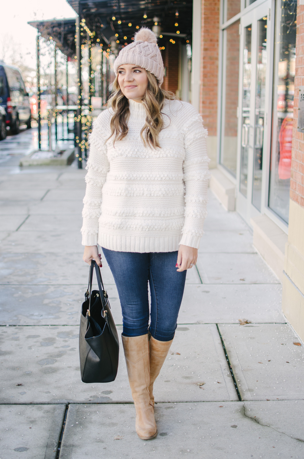cream sweater outfit - best textured cream sweater! | Get all the outfit details and see more cute Winter outfits at bylaurenm.com!