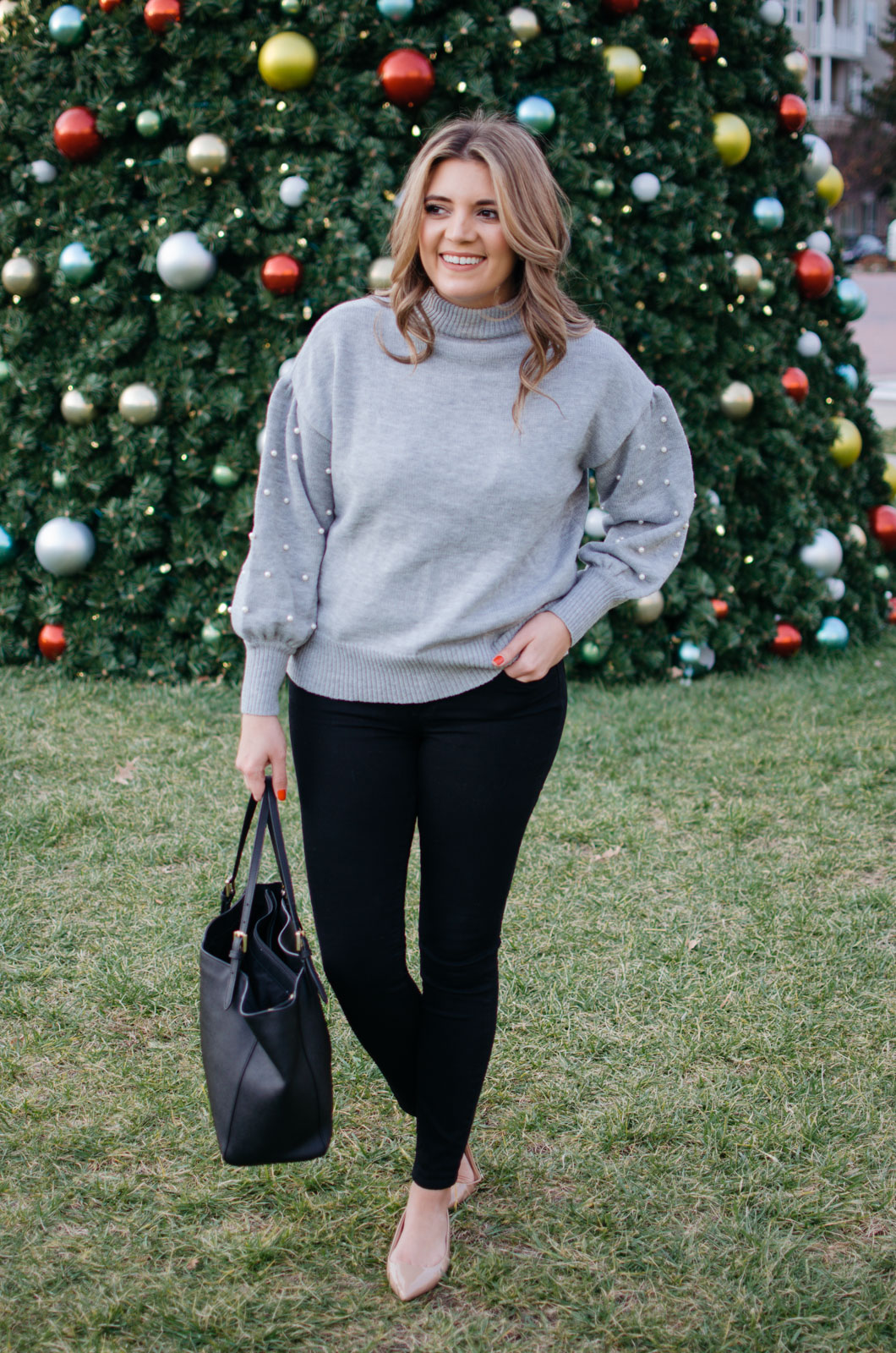 winter outfit idea - pearl sweater outfit | For more winter outfit ideas, head to bylaurenm.com!