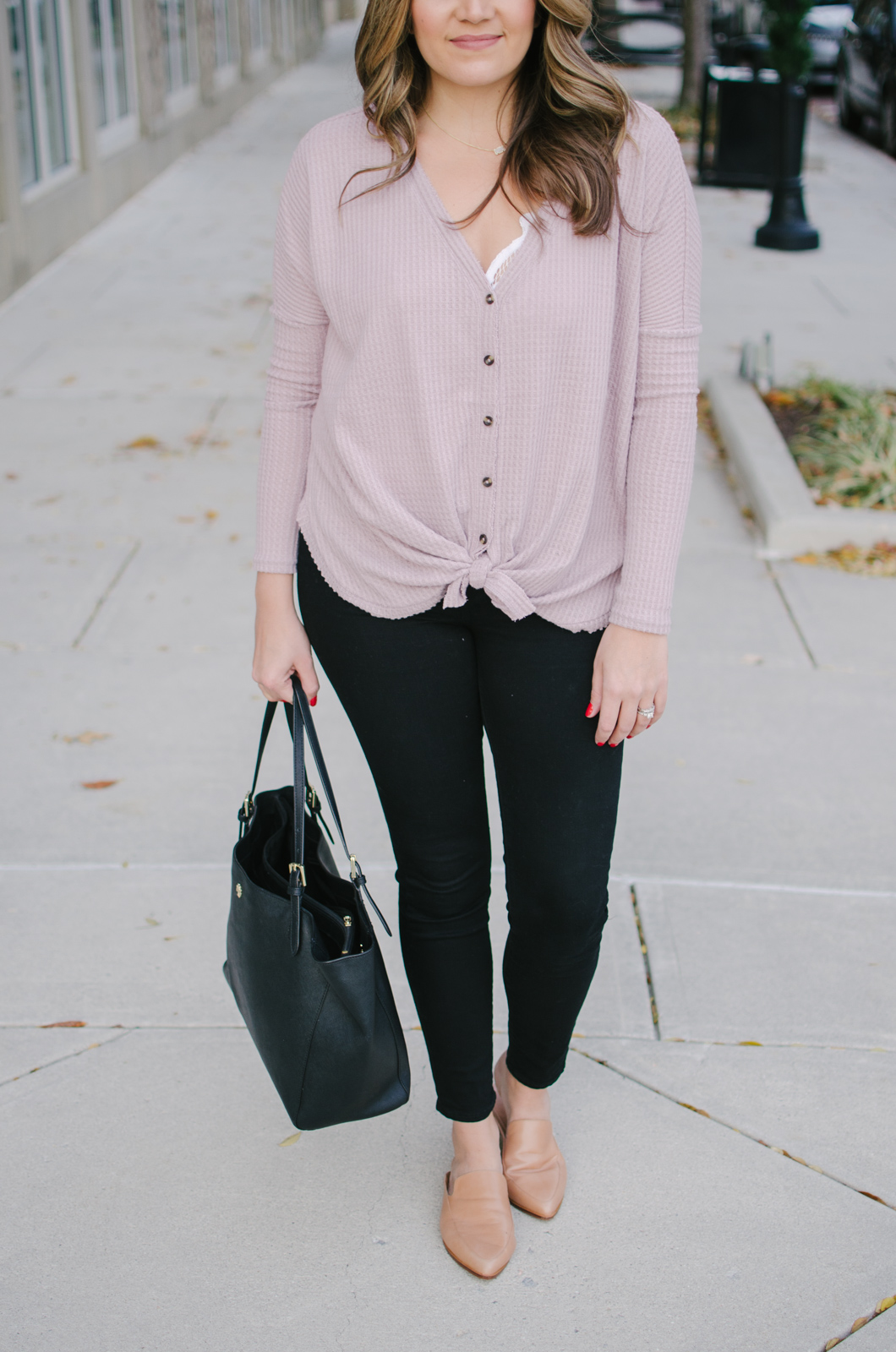 thermal shirt outfit - this tie thermal is adorable! | See more Winter outfit ideas or get outfit details by clicking through to bylaurenm.com!