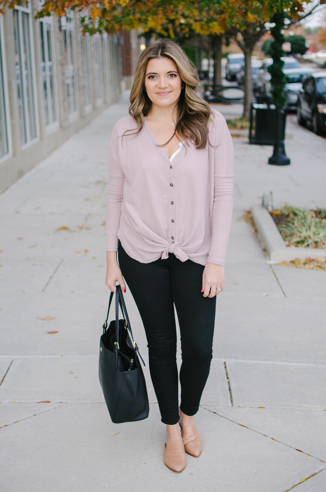 thermal shirt outfit idea - cute winter outfit idea | See more Winter outfit ideas or get outfit details by clicking through to bylaurenm.com!