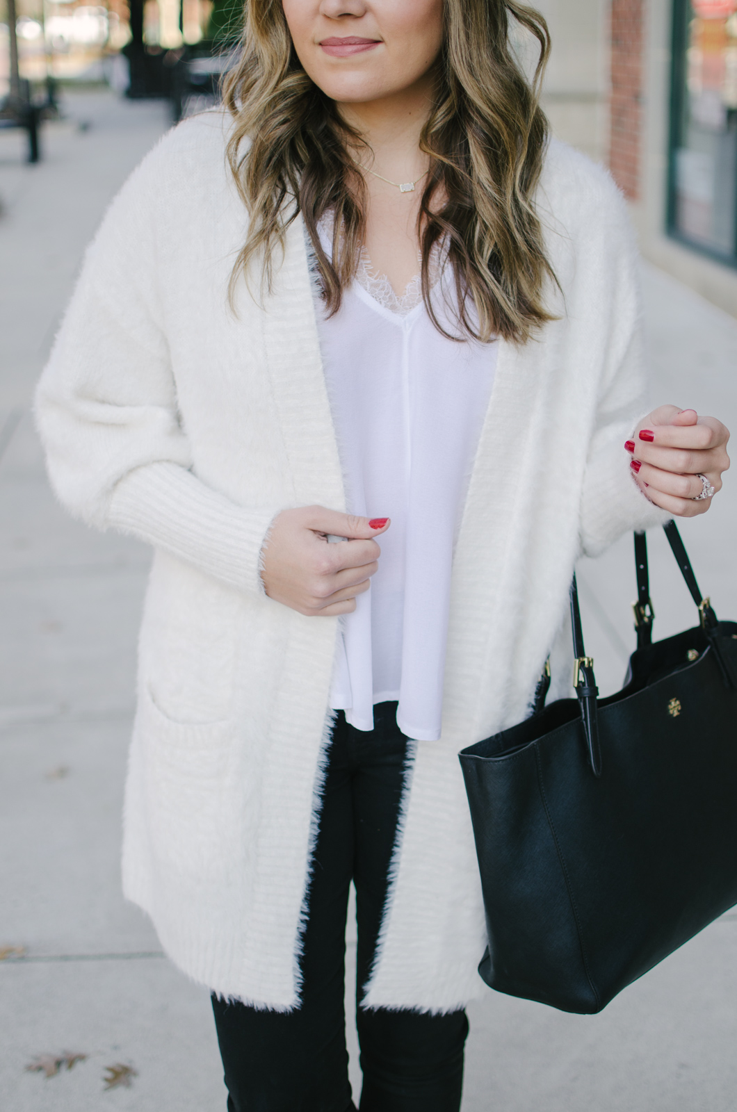 winter white outfit - such a gorgeous lace cami and fuzzy cardi! | Get outfit details or see more cute casual Winter outfits at bylaurenm.com