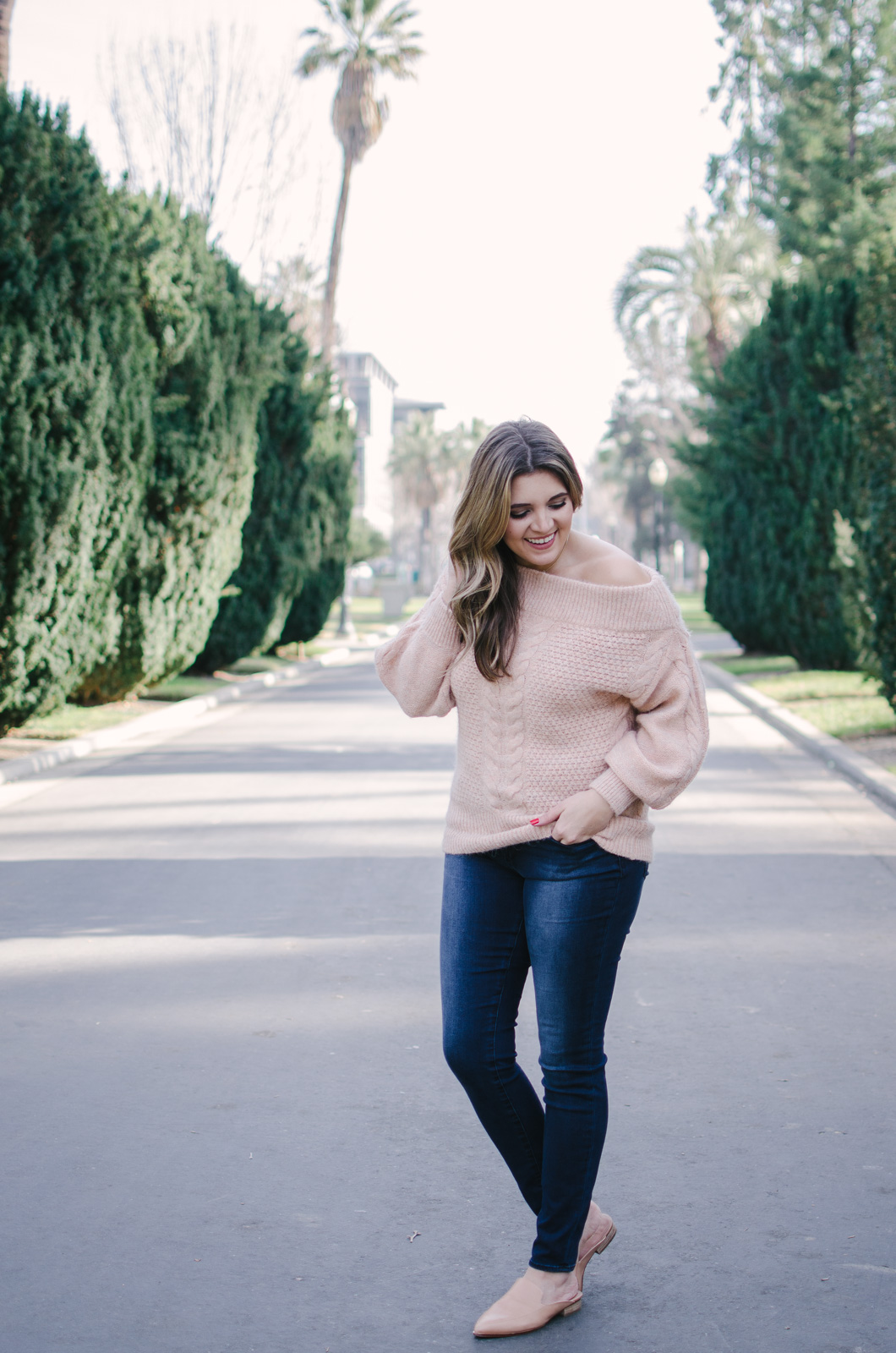 blush off shoulder sweater outfit - how wear an off the shoulder sweater | Shop this look or see more outfit ideas at bylaurenm.com!