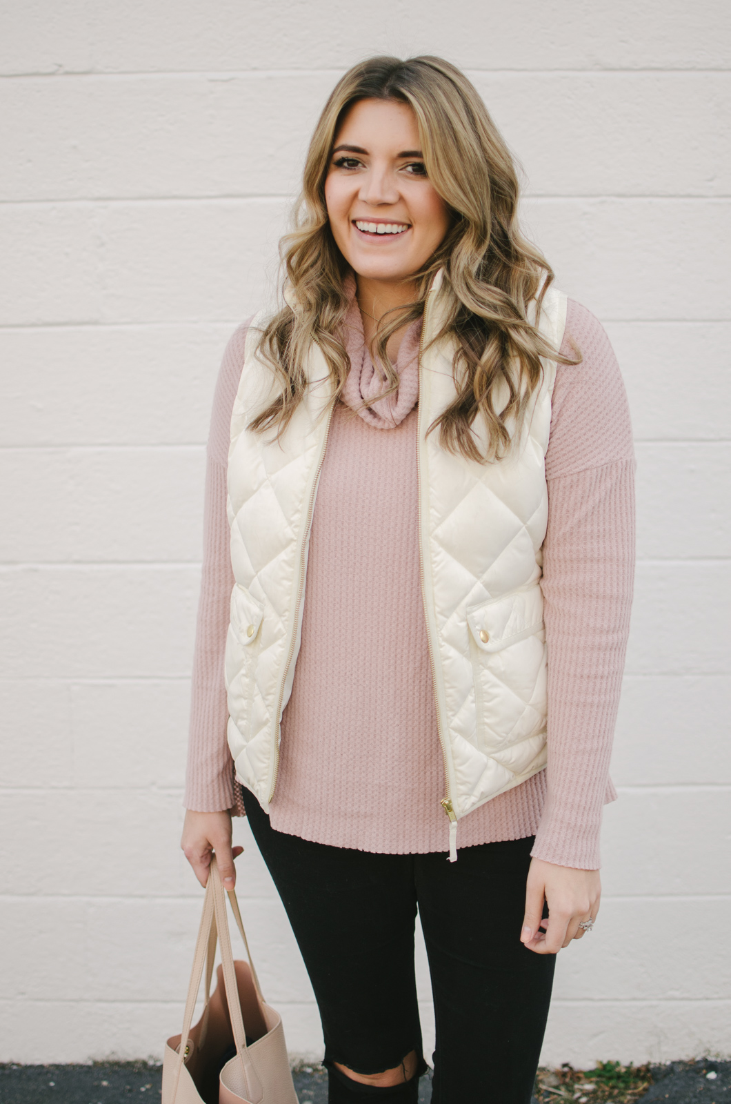 puffer vest outfit - how wear a white puffer vest outfit | shop this look or see more winter outfits at bylaurenm.com!