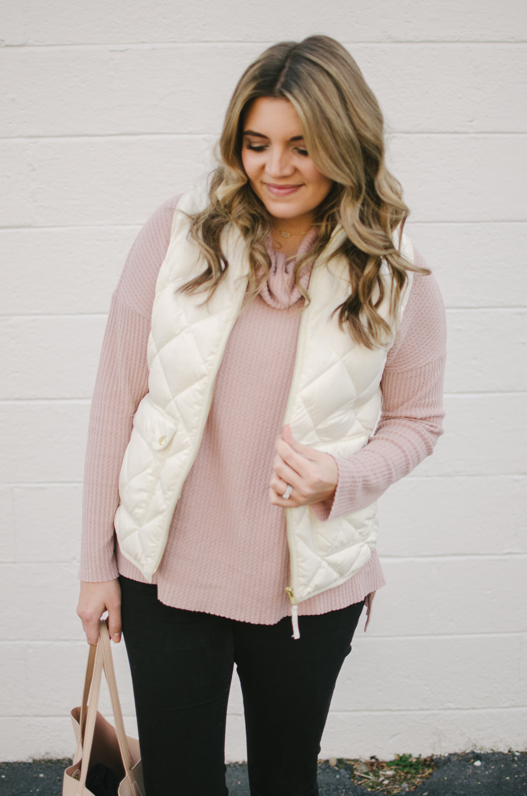 white puffer vest outfit - how wear puffer vest | shop this look or see more winter outfits at bylaurenm.com!