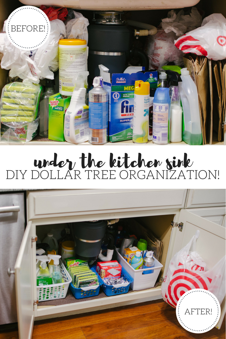 under the sink kitchen diy organization - dollar tree diy organization tips! You're going to love this kitchen organization before and after! Spend $5 and completely revamp your under sink cabinets! | bylaurenm.com