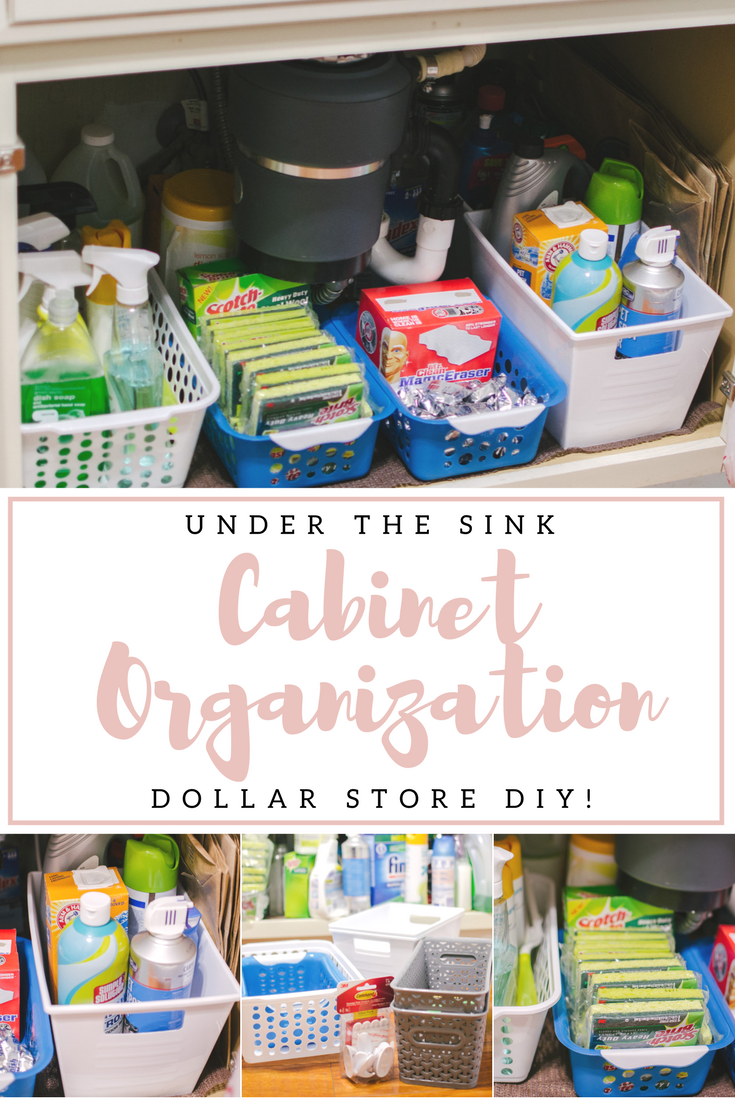 under sink cabinet organization dollar store - You're going to love this kitchen organization before and after! Spend $5 and completely revamp your under sink cabinets! | bylaurenm.com