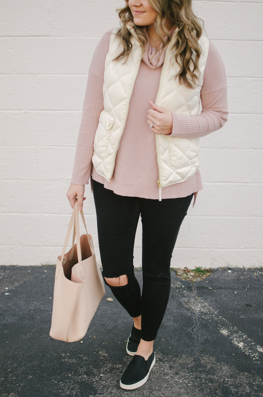 cream puffer vest -puffer vest outfit for winter | shop this look or see more winter outfits at bylaurenm.com!