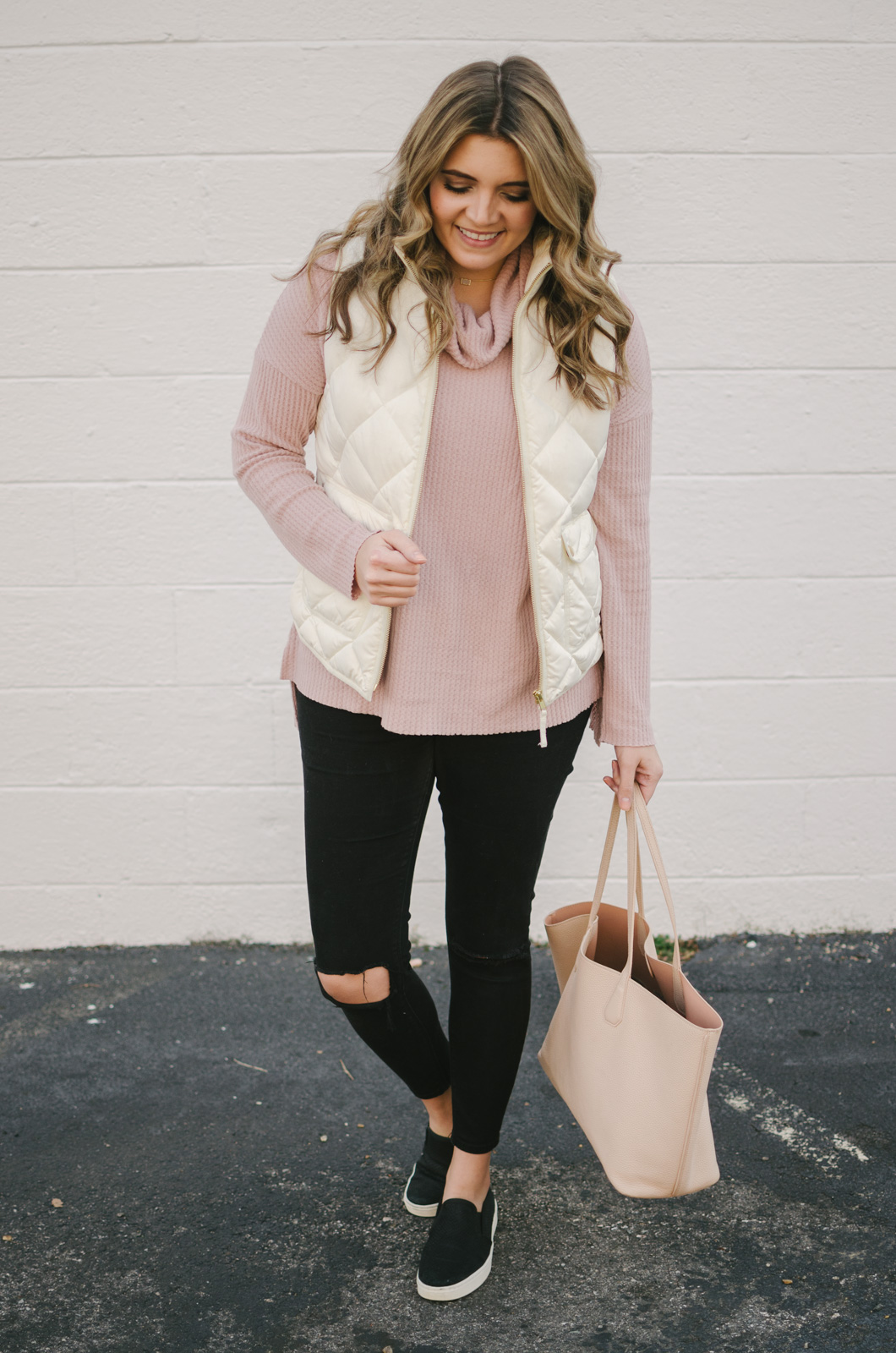 white puffer vest outfit - how to wear a cream puffer vest | shop this look or see more winter outfits at bylaurenm.com!