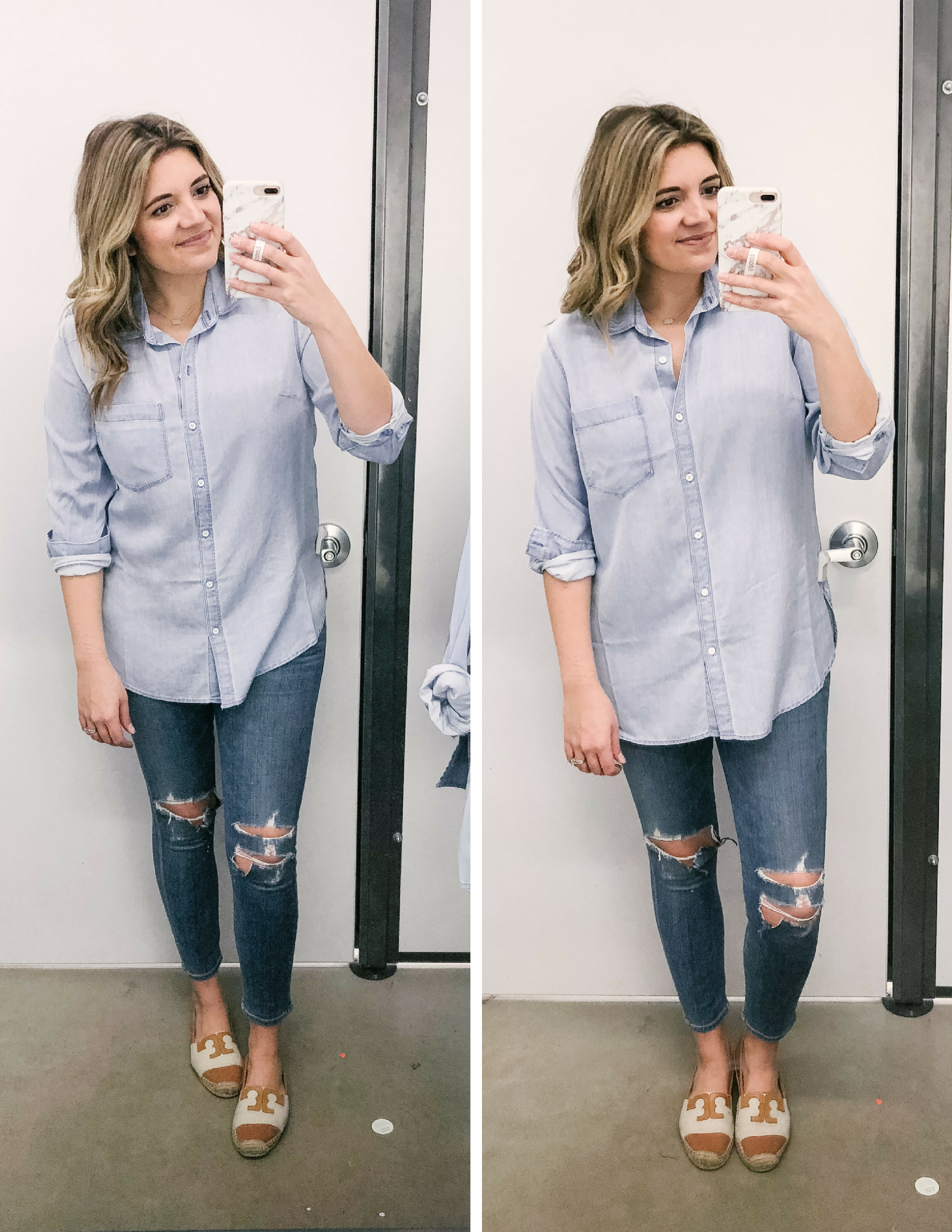 346651cb Old Navy chambray top review - dressing room reviews | See the full try-on