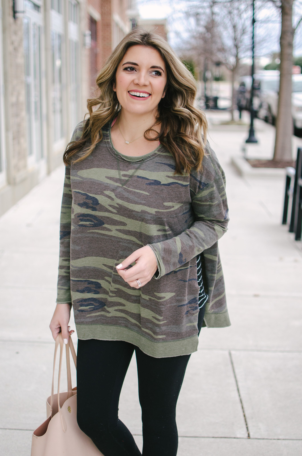 how to wear camo and stripes - my current fav winter leggings outfit | Get all the outfit details or see more cute leggings outfits at bylaurenm.com!