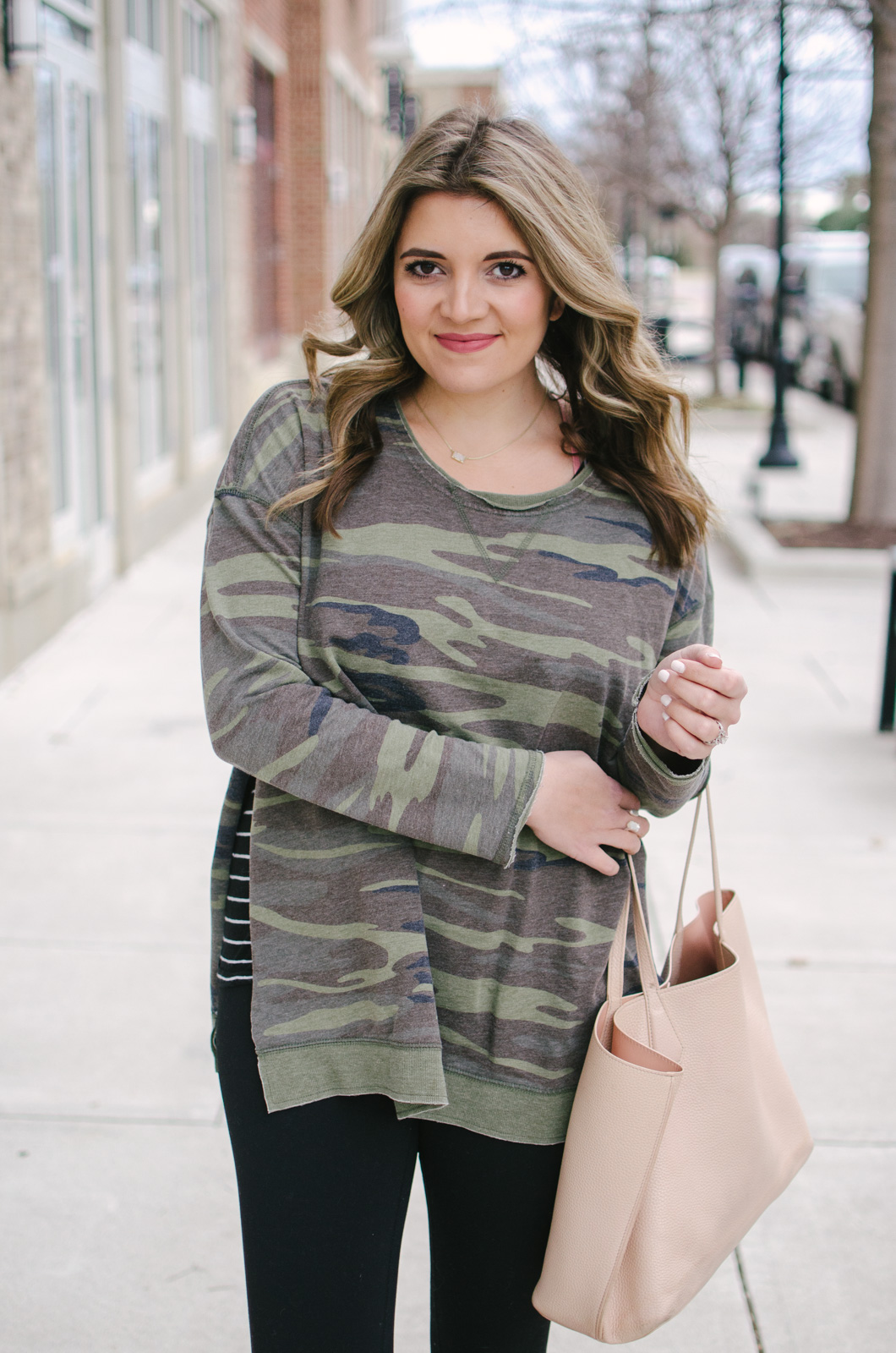 camo pullover outfit - my current fav leggings outfit for winter | Get all the outfit details or see more cute leggings outfits at bylaurenm.com!
