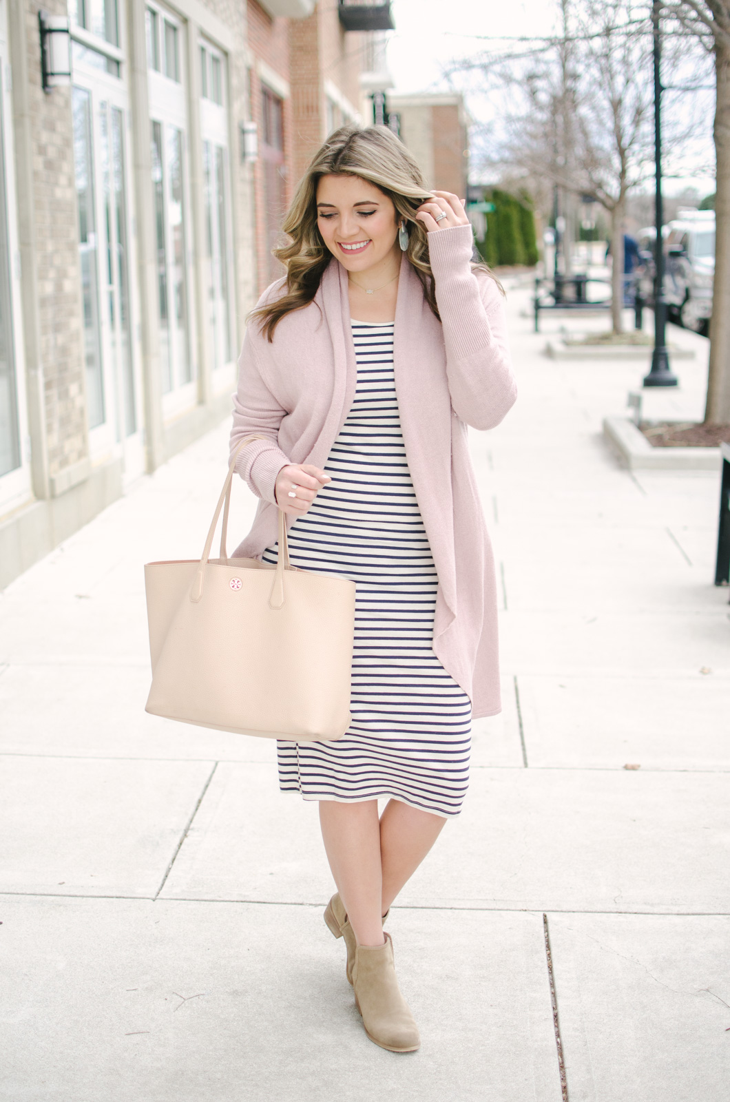 striped dress two ways - two ways to wear a striped dress for Spring | Shop this look and see the other striped dress outfit at bylaurenm.com!