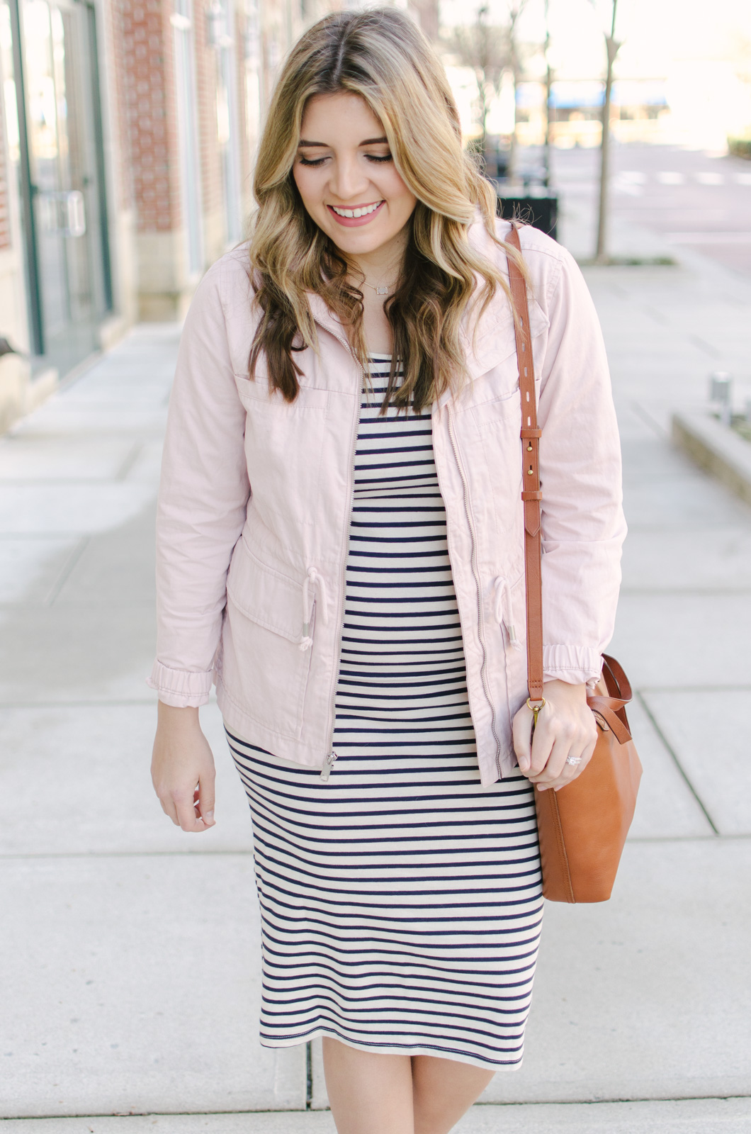 striped dress maternity outfit - spring pregnancy outfits | | Shop this look and see the other striped dress outfit at bylaurenm.com!
