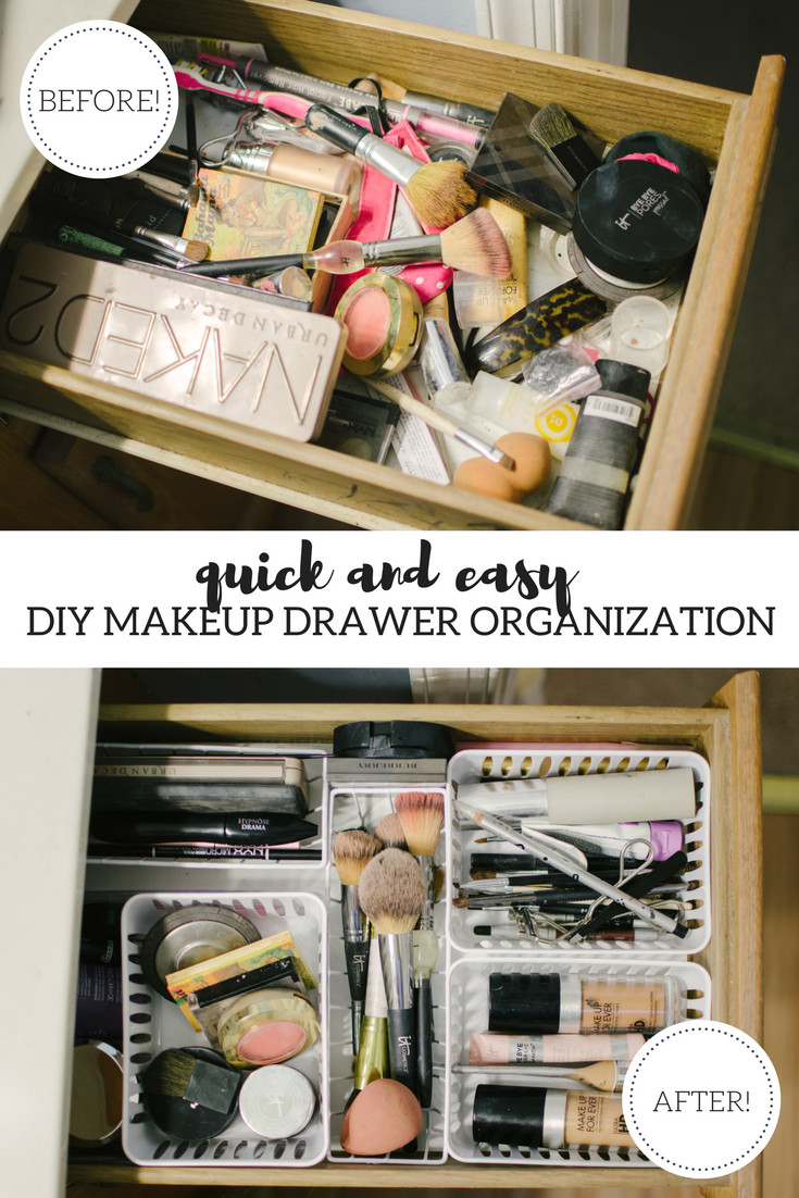 easy diy dollar store makeup drawer organization | how to easily organize your makeup drawer for under $5! Get all the tips at bylaurenm.com!