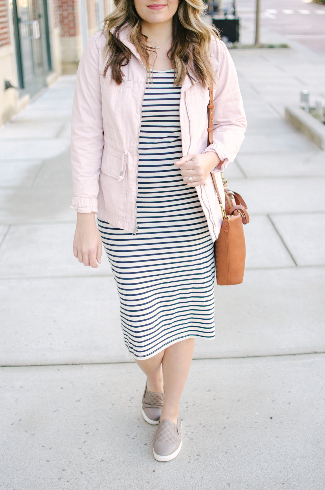 maternity style - two ways to wear a striped dress   Shop this look and see the other striped dress outfit at bylaurenm.com!