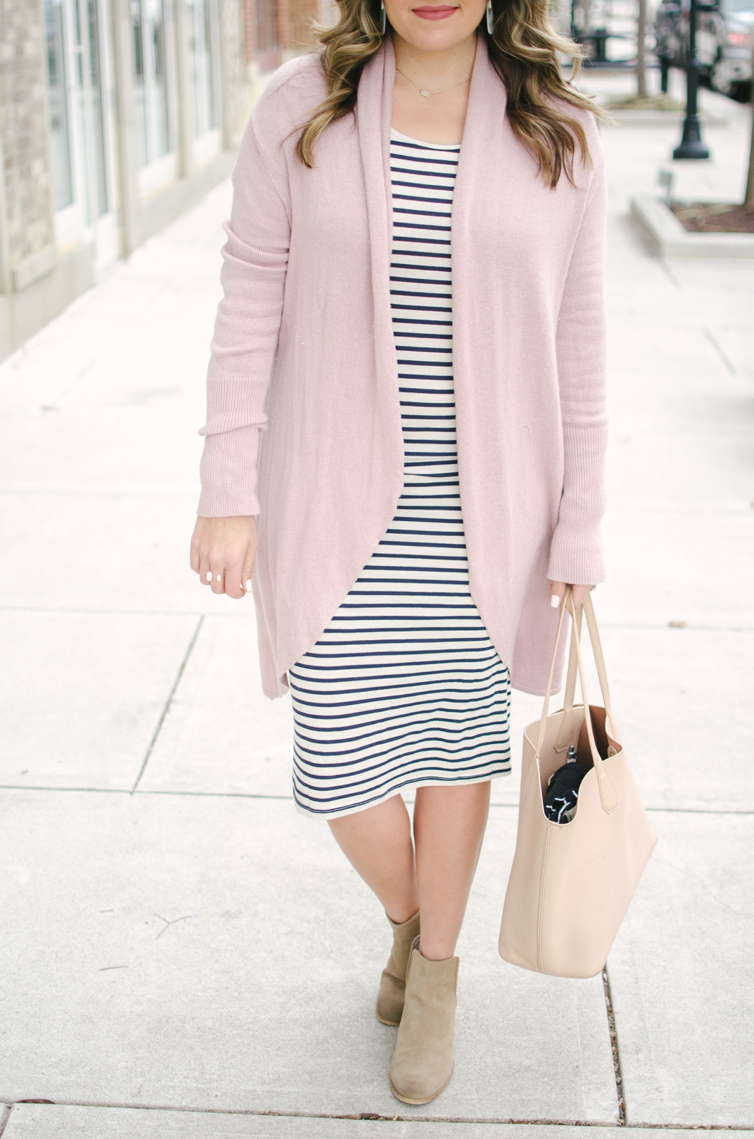striped dress spring outfit - ways to wear a striped dress | Shop this look and see the other striped dress outfit at bylaurenm.com!