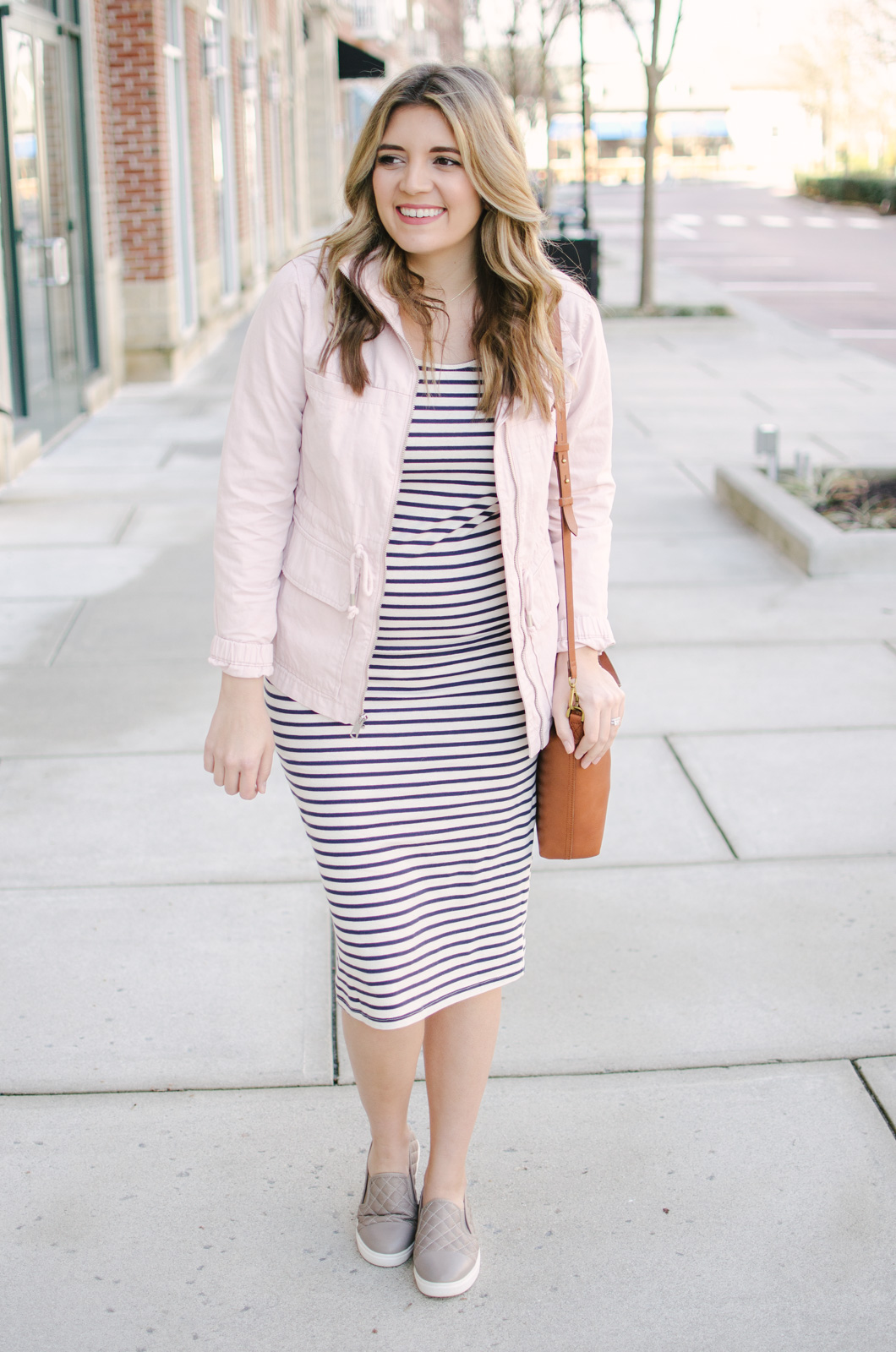 two ways to wear a striped dress - maternity spring outfit ideas | Shop this look and see the other striped dress outfit at bylaurenm.com!