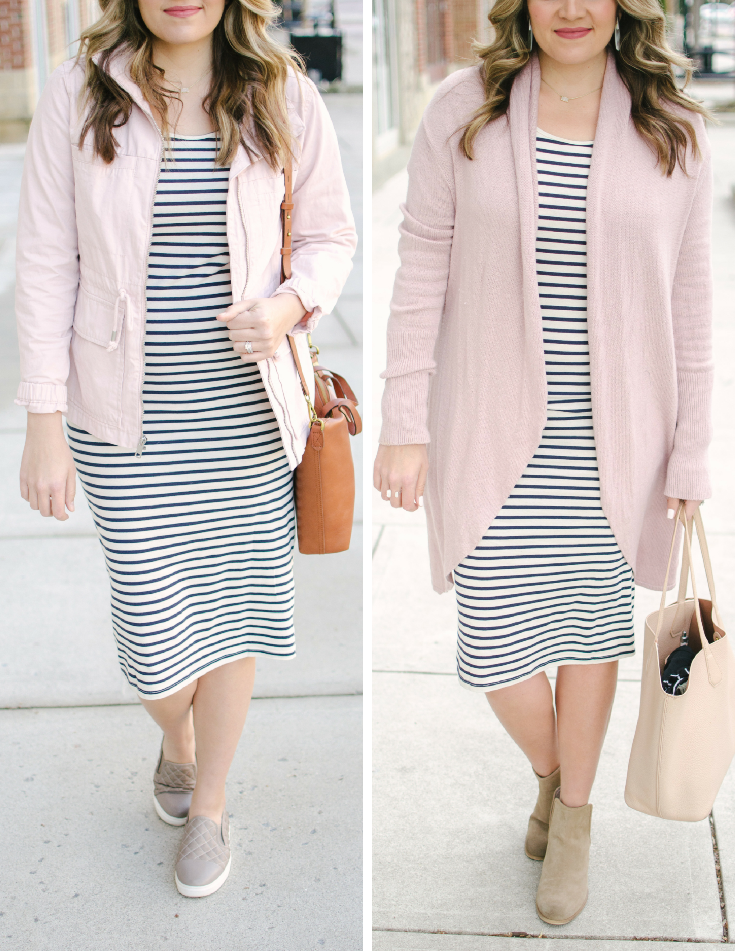 two ways to wear a striped dress - spring maternity outfits | Shop these looks or see more cute maternity outfits at bylaurenm.com!