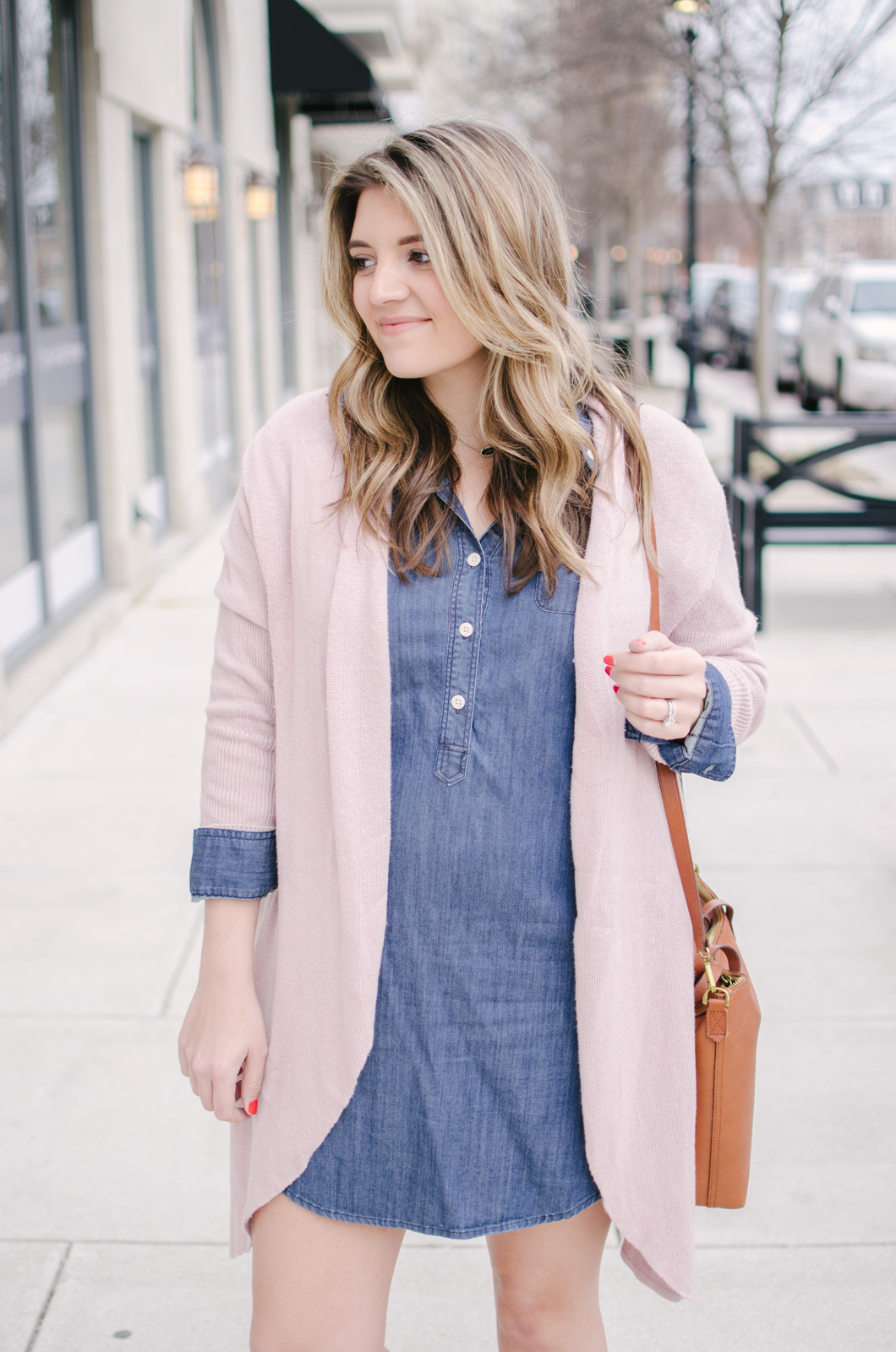 chambray dress + blush cardigan - chambray dress spring outfit | bylaurenm.com