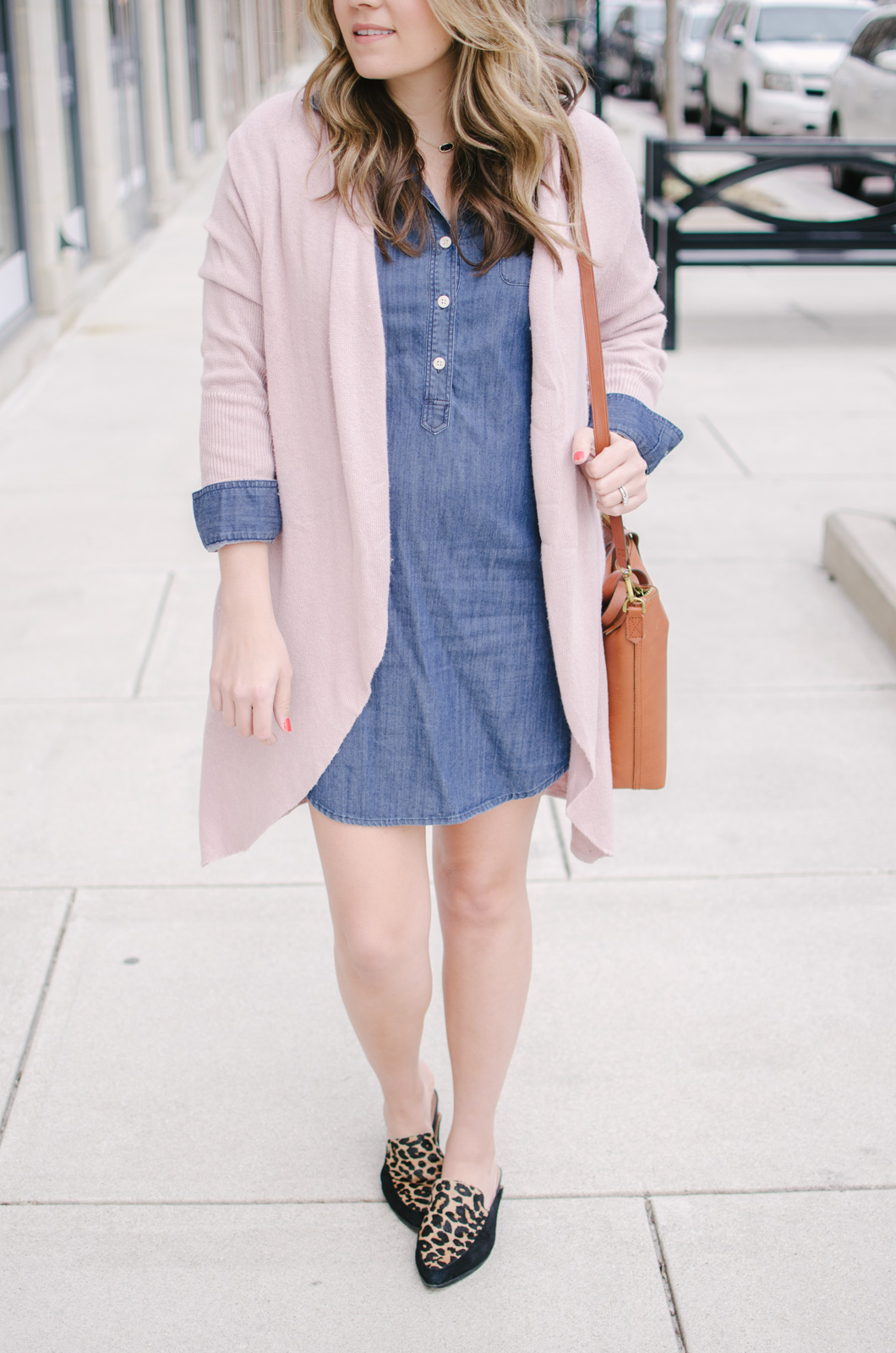 chambray dress outfit for spring - cute spring outfit idea chambray | bylaurenm.com
