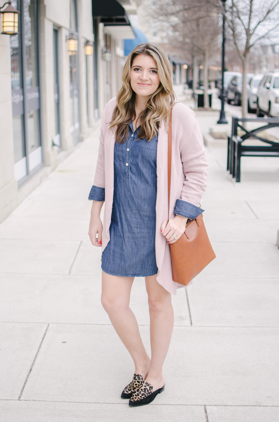 chambray dress and blush pink - the cutest spring chambray dress outfit | bylaurenm.com