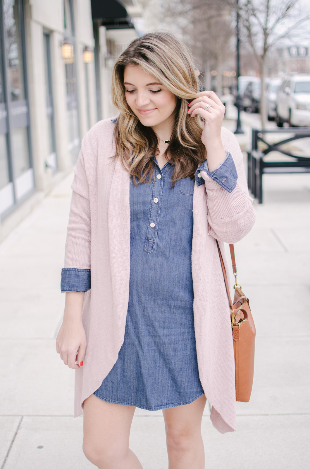 work to weekend spring outfit - chambray dress spring outfit with blush cardigan | bylaurenm.com