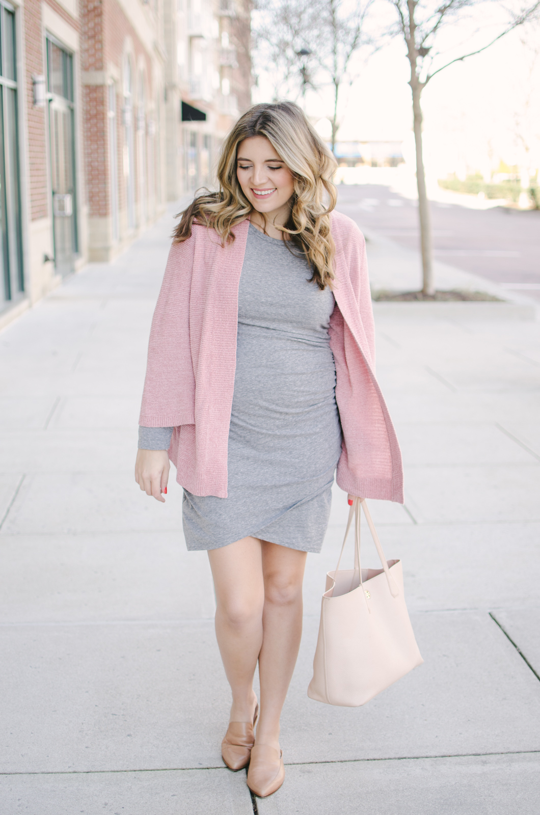 gray ruched dress maternity outfit - this non-maternity dress is a must-have for pregnancy and beyond! Come see two more ways to wear it at bylaurenm.com!