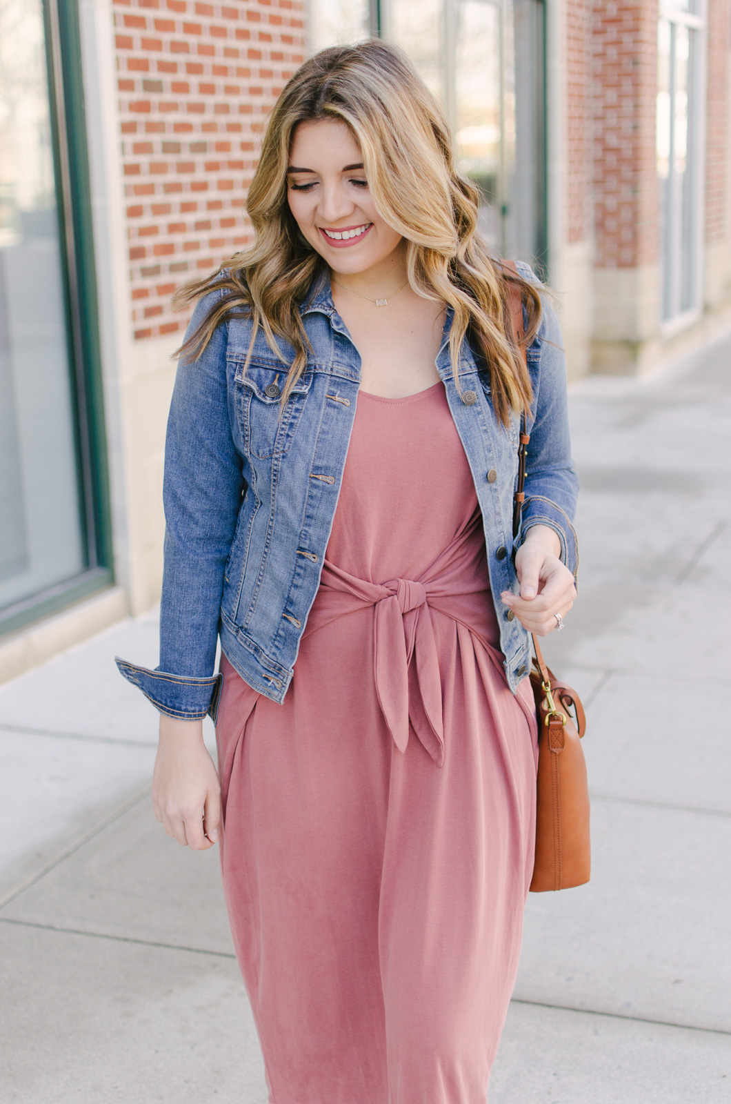 knotted midi dress outfit for spring - I'm obsessed with this adorable knotted dress! | Get outfit details for this spring midi dress outfit or see more cute spring outfit ideas at bylaurenm.com!