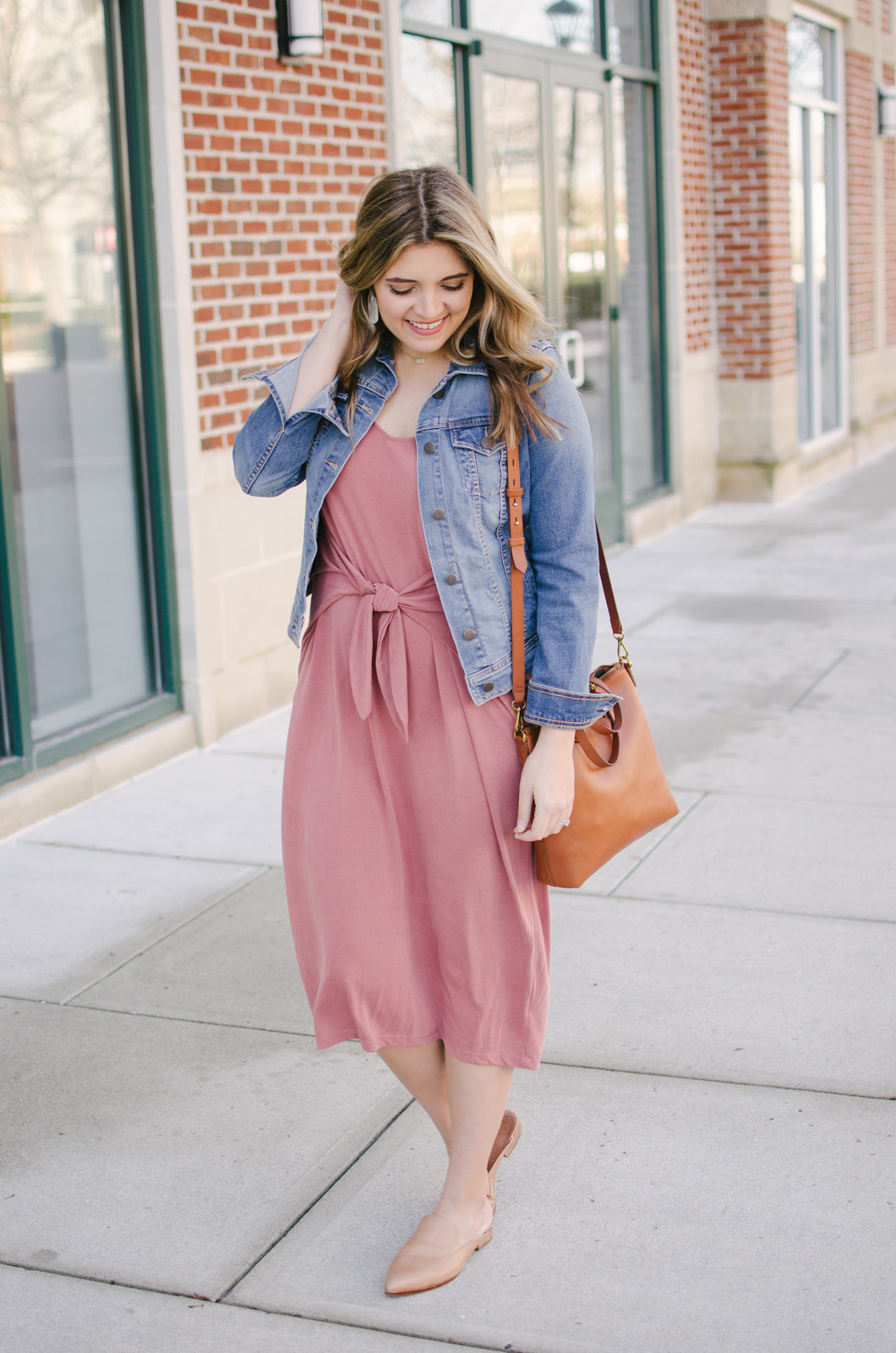 spring outfit midi dress - knotted midi dress | Get outfit details for this spring midi dress outfit or see more cute spring outfit ideas at bylaurenm.com!