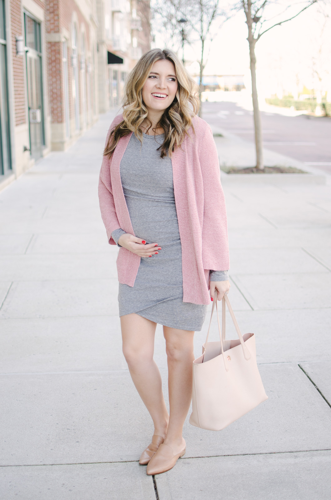 5e884aa791d gray ruched dress maternity outfit - this non-maternity dress is perfect  for pregnancy and