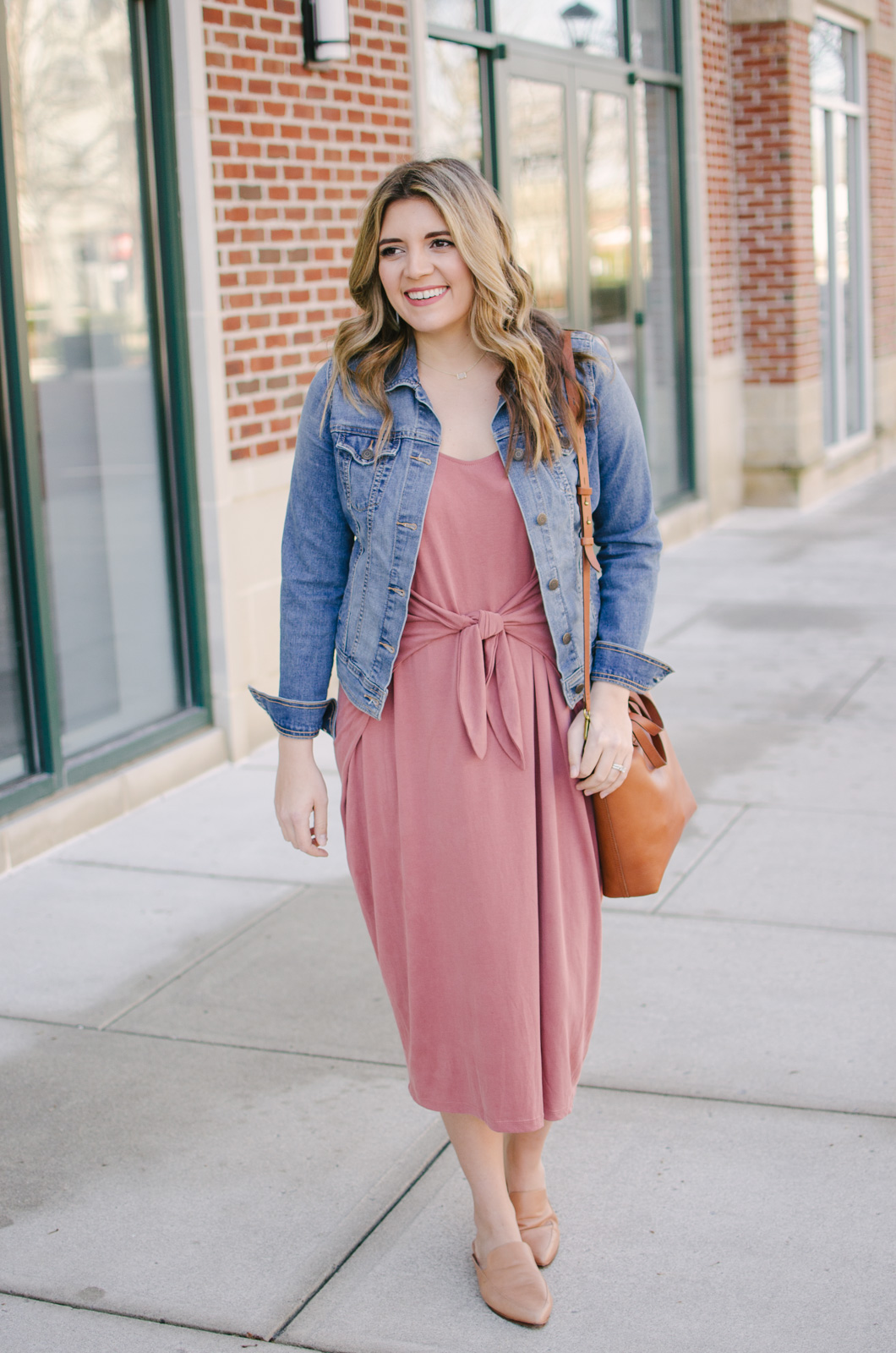 knotted midi dress outfit spring - classic spring outfit | Get outfit details for this spring midi dress outfit or see more cute spring outfit ideas at bylaurenm.com!